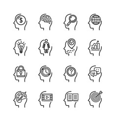 symbol human mind black thin line icon set vector image vector image