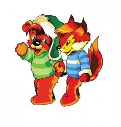 teddy bear and fox vector image vector image