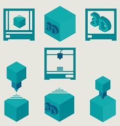 3D Printer flat blue icons set vector image