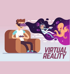 boy with headset playing virtual 3d reality vector image vector image