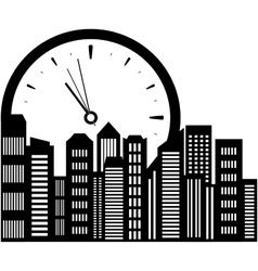 clock and city landscape vector image vector image