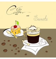 coffee and sweets vector image vector image
