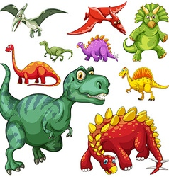 Different kind of dinosaurs vector image