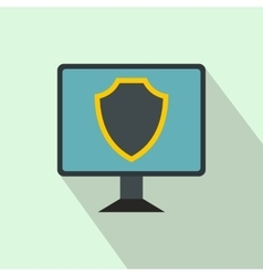 Monitor with security shield on the screen icon vector image