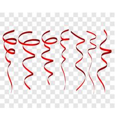 seven red festive ribbon for christmas birthday vector image vector image