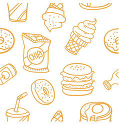 Various food and drink of doodles vector