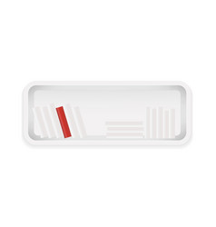 white bookshelf books collection with one red vector image vector image