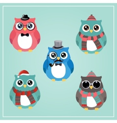 Winter Hipster Owl vector image