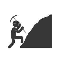 worker mining pickaxe rock figure pictogram vector image