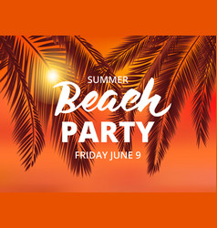 Beach party poster template with typographic vector