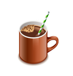 Cocoa drink isolated on white vector image vector image