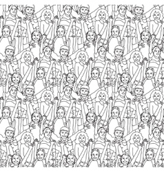 Crowd happy children black and white seamless vector