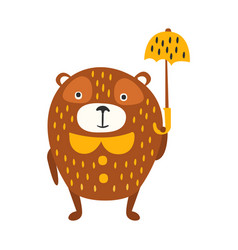 cute cartoon brown teddy bear standing with yellow vector image
