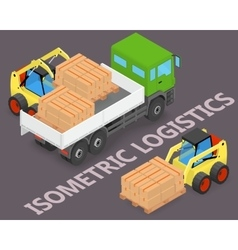 Process of loading the trucks with a forklift vector image