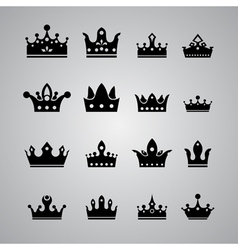 set of different crowns vector image