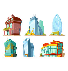 set of different modern buildings in cartoon style vector image