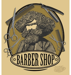 Vintage barber shop sign board vector image vector image