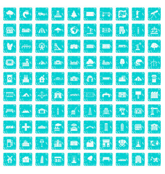 100 landscape element icons set grunge blue vector image
