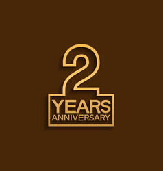 2 years anniversary design line style with square vector
