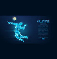 abstract silhouette volleyball player man ball vector image