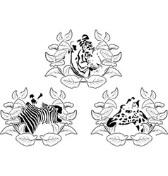 animals stencil set vector image