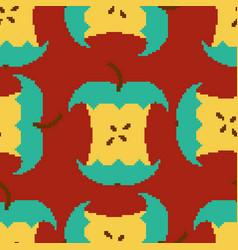 apple core pixel art seamless pattern pixelated vector image
