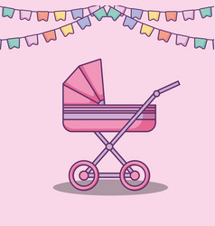 Baby shower card with cart vector