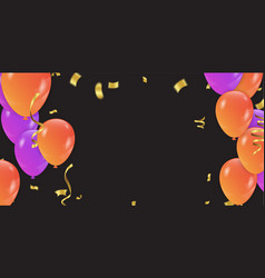 background with purple and orange balloons and vector image