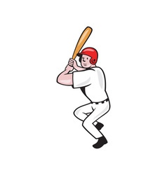 Baseball player batting side isolated cartoon vector