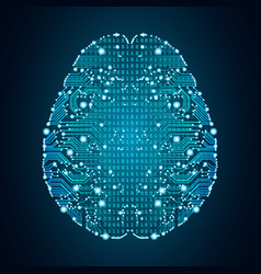 Big data and artificial intelligence brain concept vector