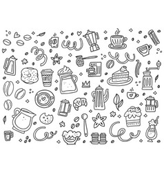 black and white coffee objects vector image
