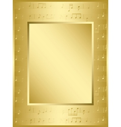 bright gold frame with music notes vector image