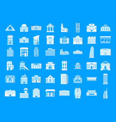 building icon blue set vector image
