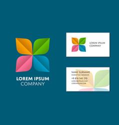 business card template with trendy colorful logo vector image