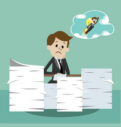 business man working and dreaming about new idea vector image