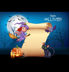 cartoon little witch flying on a broomstick with h vector image