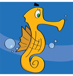 cartoon sea horse vector image