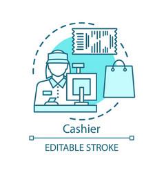 Cashier concept icon sales clerk at store shop vector