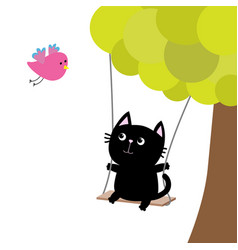 Cat ride on the swing green tree flying pink bird vector