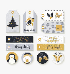 Christmas set of vintage animal labels and tags vector