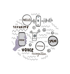 circle made of hand drawn elements for voice vector image