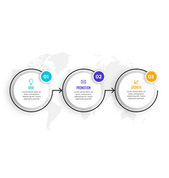 Circular timeline three steps infographics vector