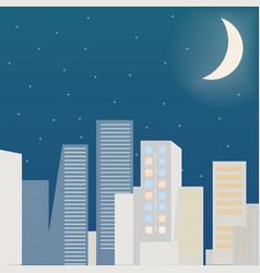 City scape at night flat vector