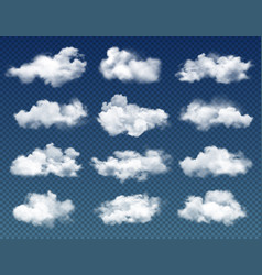 Clouds in cloudy sky on transparent background vector