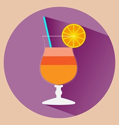 Cocktail glass with alcohol drink vector