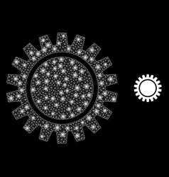 Cogwheel - bright web mesh with lightspots vector