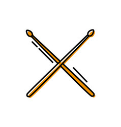 Color drumstick object of wooden to play drum vector