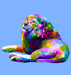 colorful lion lying down facing up vector image
