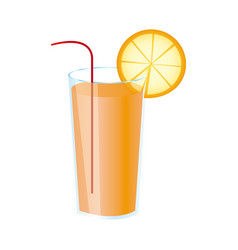 Colorful realistic orange freshness drink cocktail vector