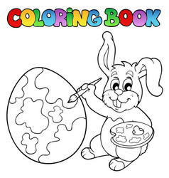 coloring book with bunny artist vector image
